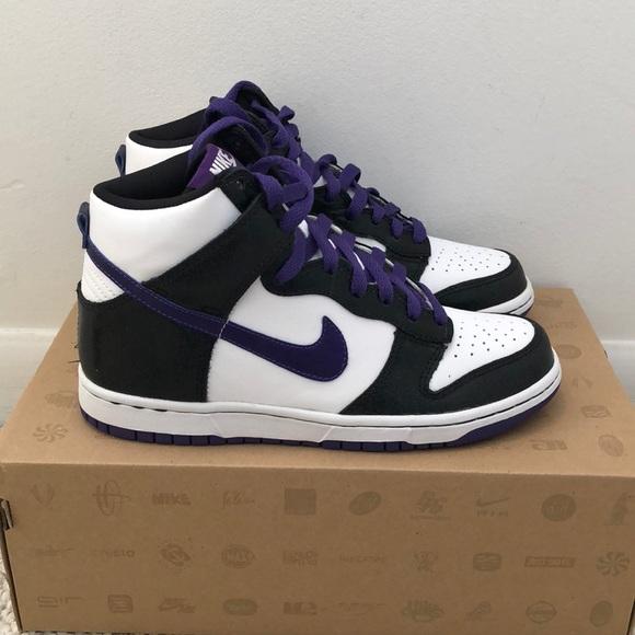 separation shoes 3f7e9 e307e Nike Dunk High GS - White Purple Black